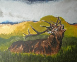 "Bellowing stag, acrylic, 20""x16"""