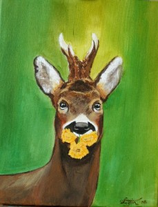 "Young buck, acrylic, 11""x14"""
