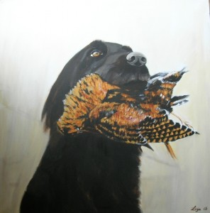 Black labrador retrieving woodcock