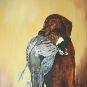 "Chocolate labrador retrieving pheasant, acrylic, 20""x20"""