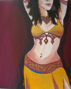 "Belly dancer, acrylic, 16""x20"""