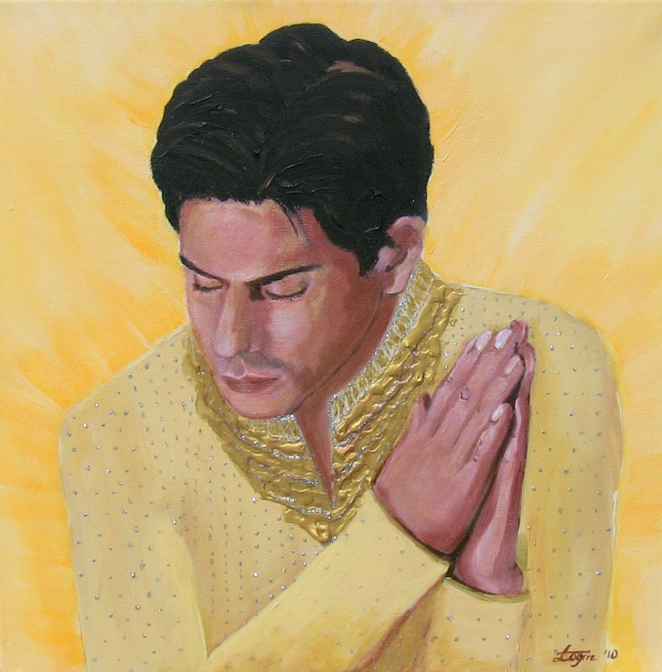 Shahrukh Khan Bollywood star - acrylic painting by Anna Login